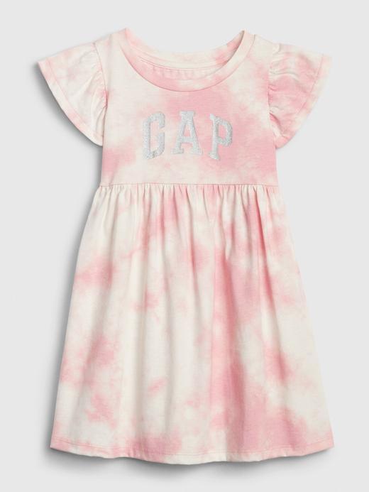 Kız Bebek Pembe Gap Logo Desenli Elbise