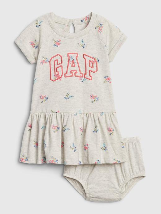 Kız Bebek Gri Gap Logo Peplum Elbise