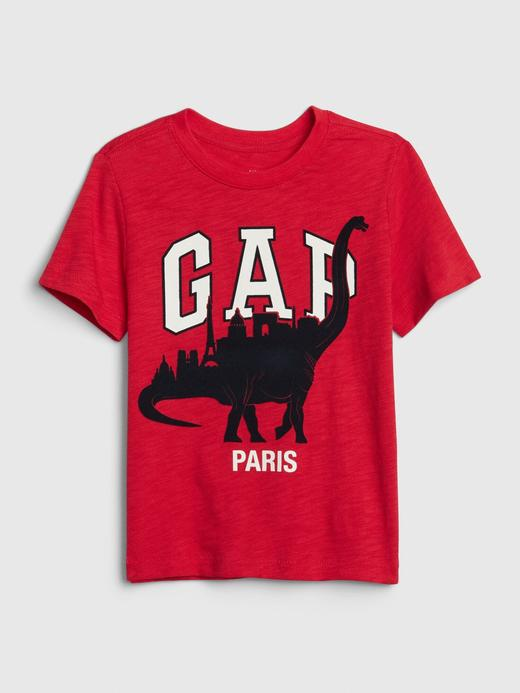 Erkek Bebek Kırmızı Gap Logo Dinozor Desenli T-Shirt