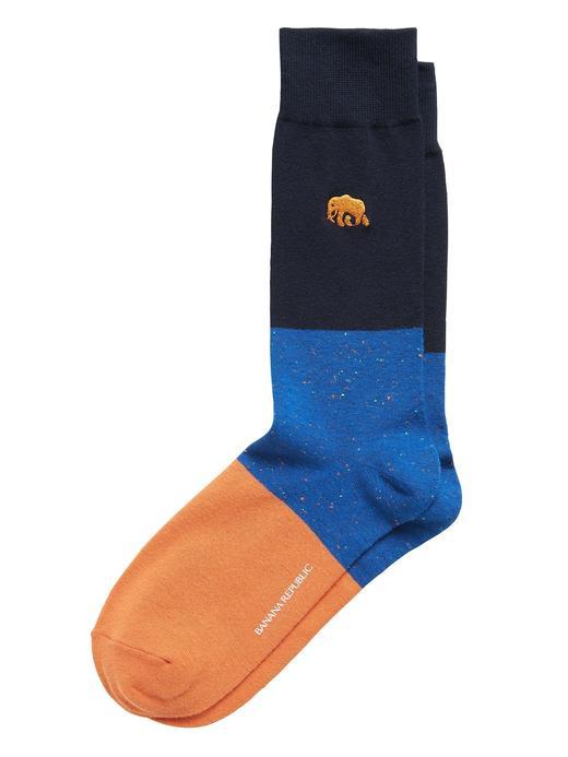 Erkek Lacivert Fil İşlemeli Çorap