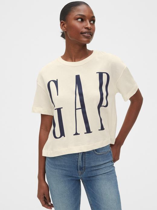Kadın Bej Gap Logo Kısa Kollu T-Shirt