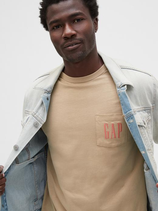 Erkek Beyaz Gap Logo Cep Detaylı T-Shirt