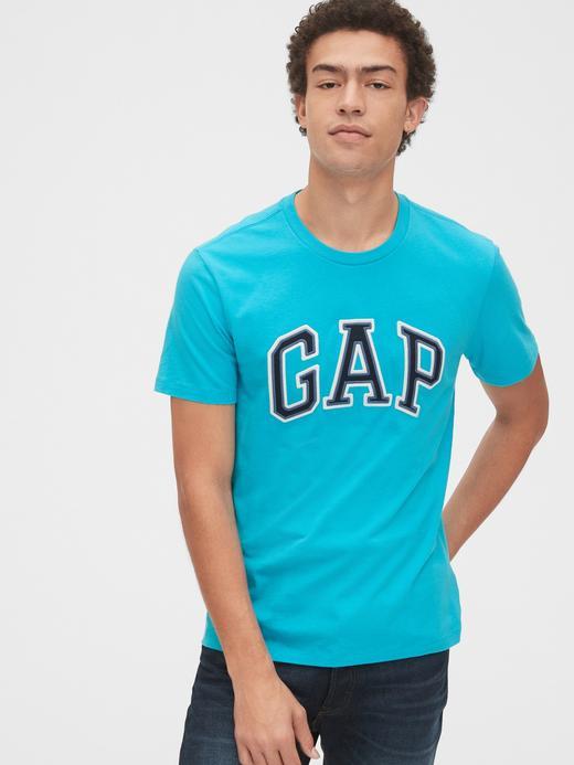 Erkek turkuaz Gap Logo Kısa Kollu T-Shirt