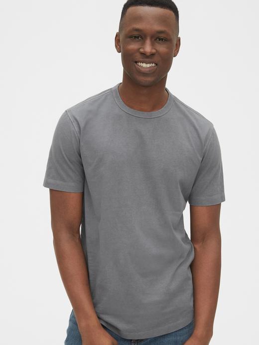 Erkek Gri Vintage Kısa Kollu T-Shirt