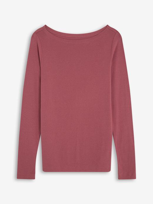 Kadın Pembe Kayık Yaka Uzun Kollu T-Shirt