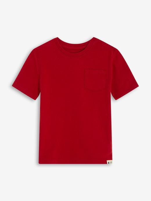Erkek Bebek Kırmızı Cepli Kısa Kollu T-Shirt