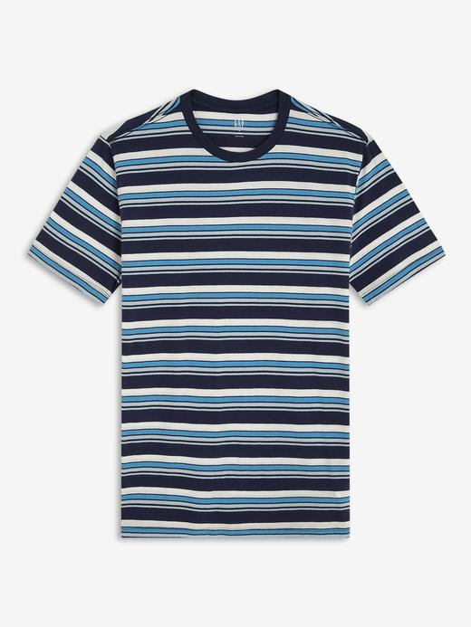 Erkek Lacivert Kısa Kollu Çizgili T-Shirt