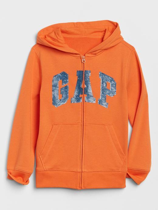 Erkek Çocuk Turuncu Gap Logo Pullu Kapüşonlu Sweatshirt