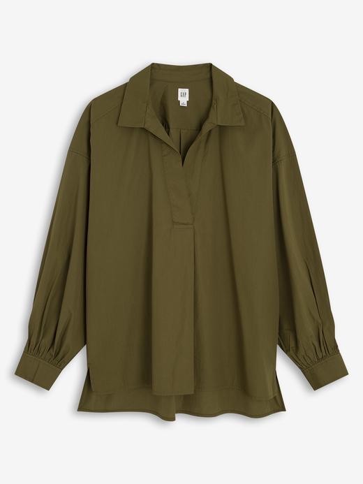 Kadın Yeşil Oversized Popover Gömlek