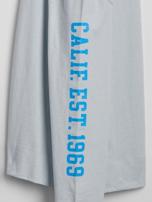 Erkek Mavi Gap Logo Uzun Kollu T-Shirt