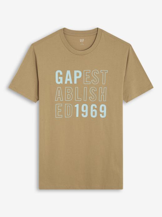 Erkek Bej Gap Logo Kısa Kollu T-Shirt