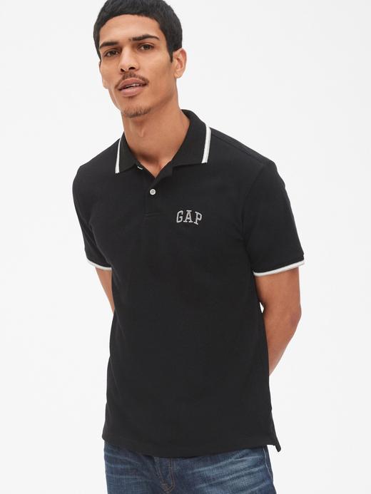 Erkek Siyah Gap Logo Polo Yaka T-Shirt