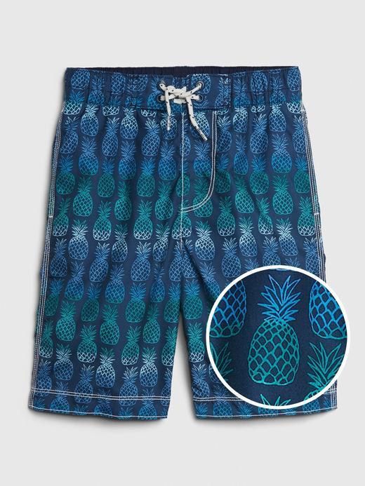 Erkek Çocuk Mavi Ananas Desenli Mayo