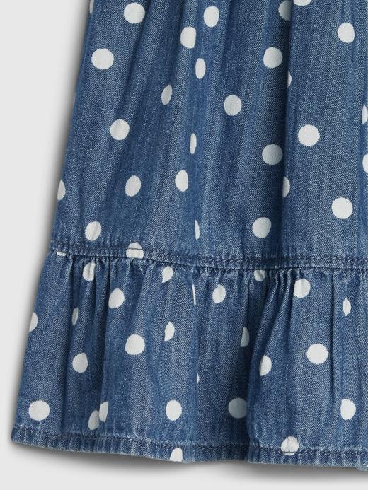 Kız Bebek Mavi Fırfırlı Puantiyeli Denim Elbise