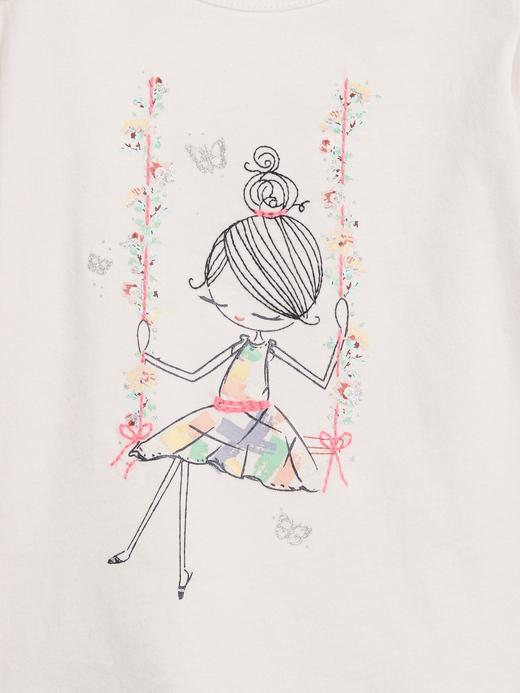 Kız Bebek Beyaz Desenli Kısa Kollu T-Shirt