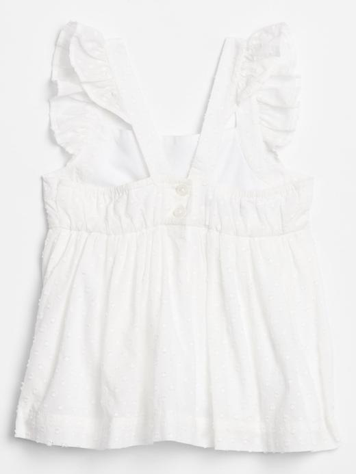 Kız Bebek Beyaz Askılı Fırfırlı Bluz