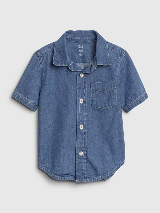 Erkek Bebek Mavi Kısa Kollu Denim Gömlek