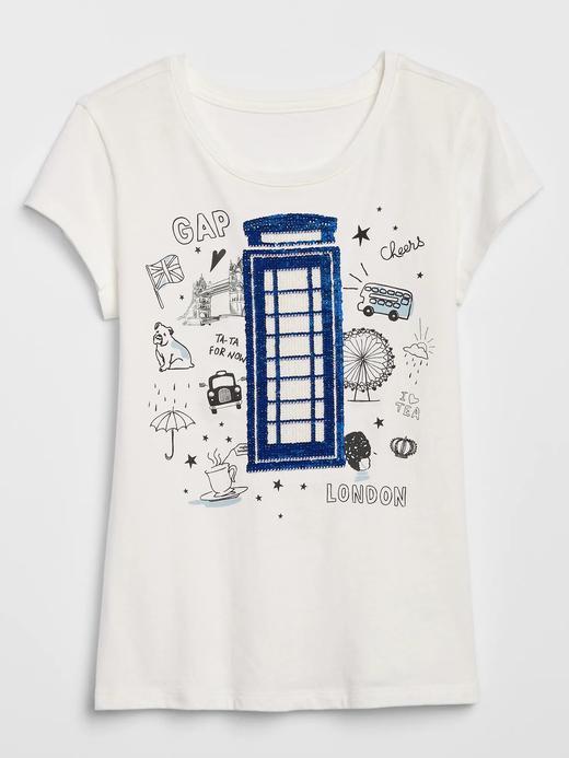 Kız Çocuk Beyaz Grafik Pullu T-Shirt