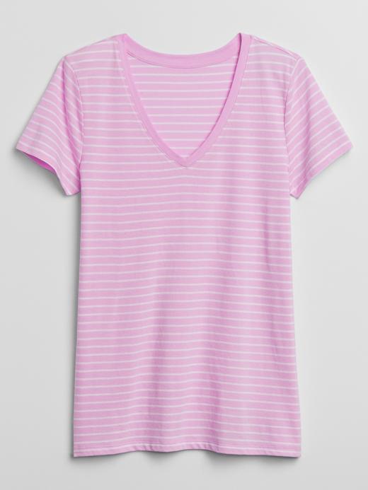 Kadın Pembe Favorite Çizgili Kısa Kollu T-Shirt