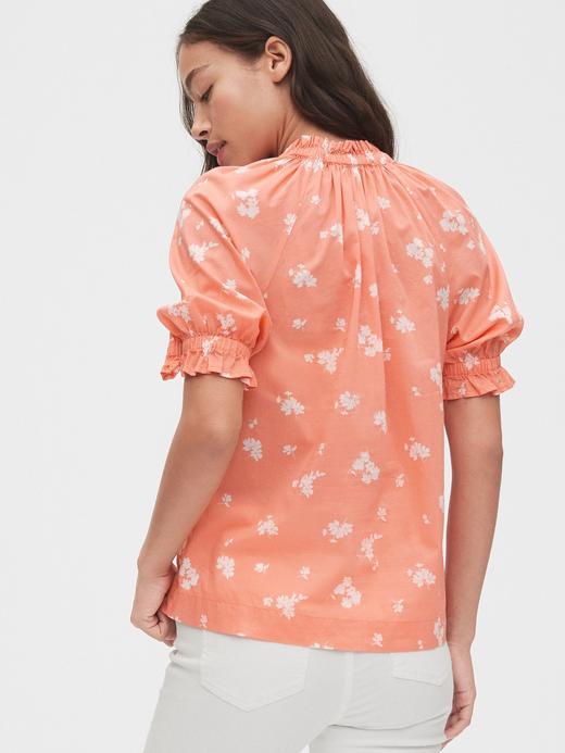 Kadın Pembe Çiçek Desenli Poplin Bluz
