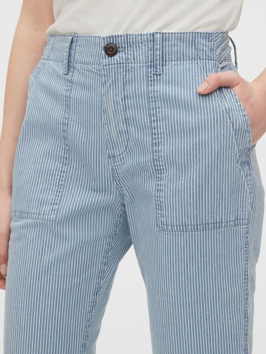 Kadın mavi High Rise Utility Khaki Pantolon