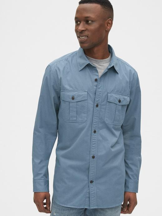 Erkek Mavi Utility Uzun Kollu Gömlek