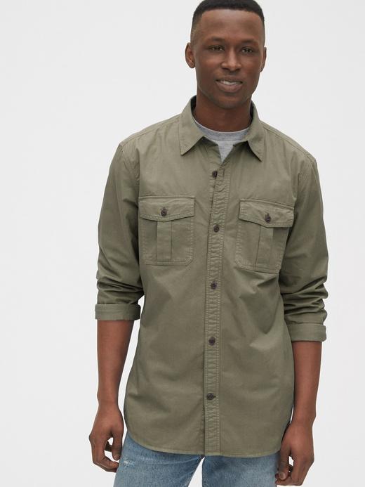 Erkek Yeşil Utility Uzun Kollu Gömlek