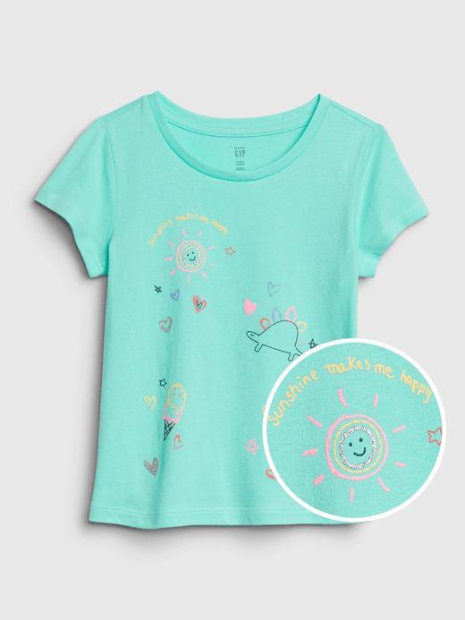 Kız Bebek Mavi Grafik Kısa Kollu T-Shirt