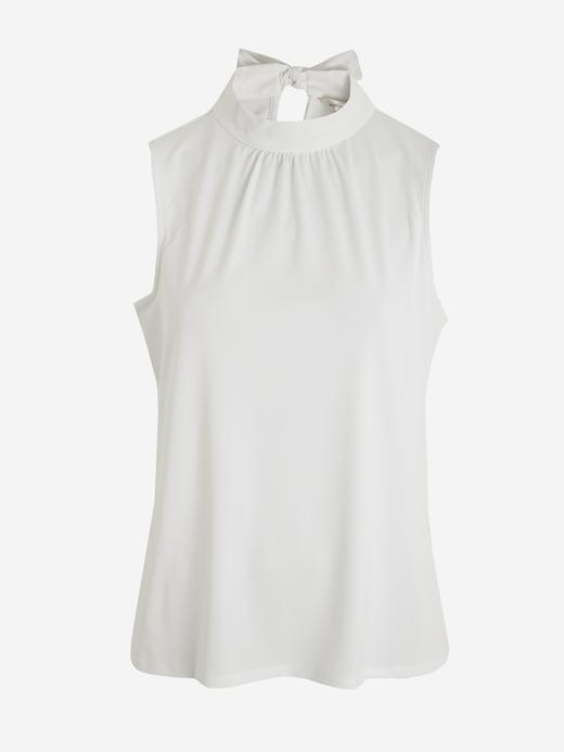 Kadın Beyaz Dik Yakalı Kolsuz Bluz
