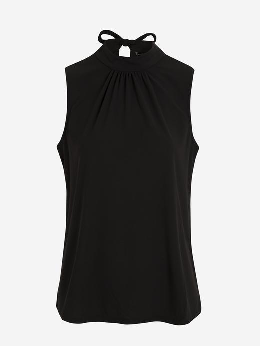 Kadın Siyah Dik Yakalı Kolsuz Bluz
