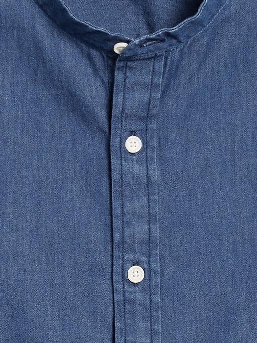 Erkek Mavi Untucked Slim-Fit Şambre Gömlek