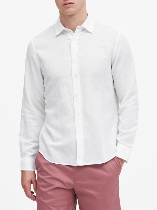 Erkek Beyaz Untucked Standard-Fit Gömlek