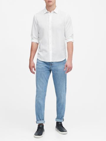 Erkek Mavi Untucked Standard-Fit Gömlek