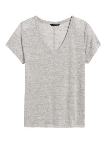 Kadın Gri V Yaka Keten T-Shirt