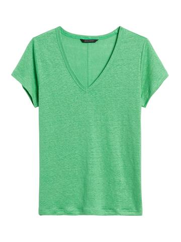 Kadın Yeşil V Yaka Keten T-Shirt