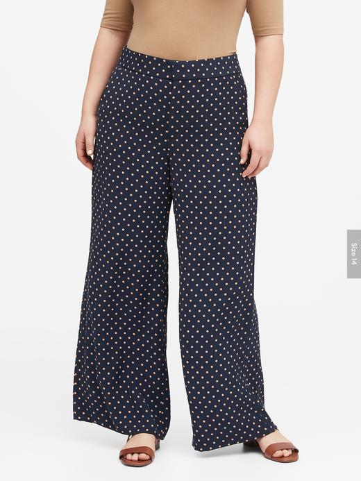 Kadın Lacivert High-Rise Wide-Leg Puantiyeli Pantolon