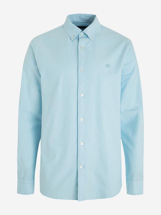 Erkek Mavi Untucked Slim Oxford Gömlek