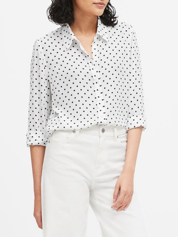 Kadın Beyaz Dillon Classic-Fit Gömlek