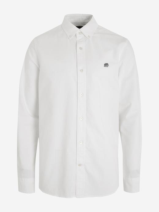 Erkek Beyaz Untucked Slim Oxford Gömlek
