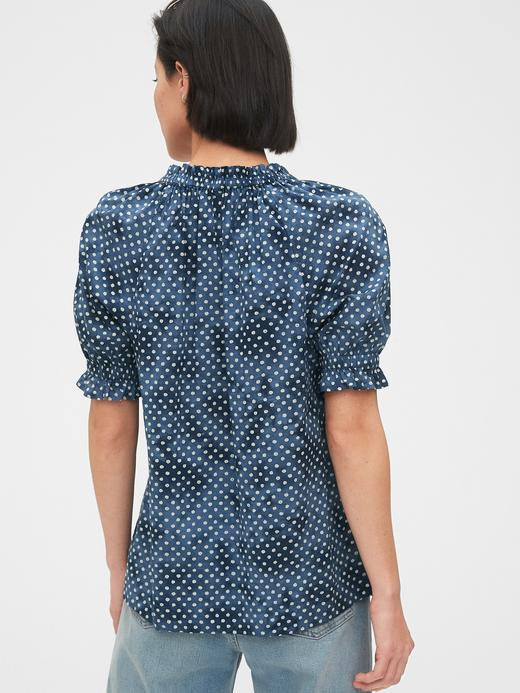 Kadın Lacivert Puantiyeli Poplin Bluz