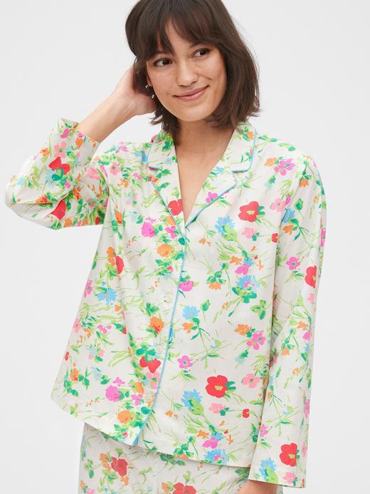 Kadın Yeşil Poplin Pijama Üstü
