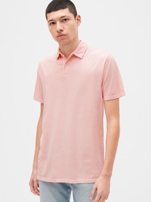 Erkek pembe Vintage Soft Polo Yaka T-Shirt