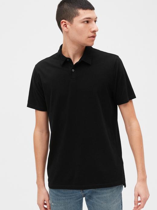 Erkek Siyah Vintage Soft Polo Yaka T-Shirt