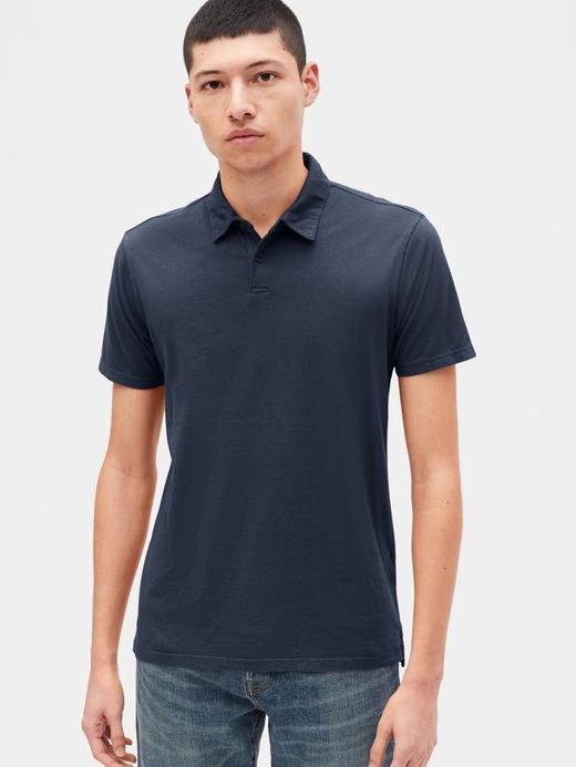 Erkek Lacivert Vintage Soft Polo Yaka T-Shirt