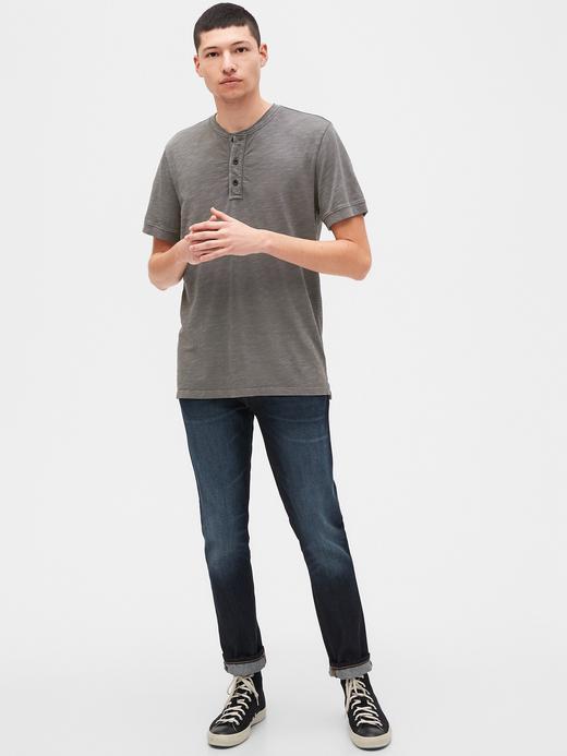 Erkek Yeşil Henley Kısa Kollu T-Shirt