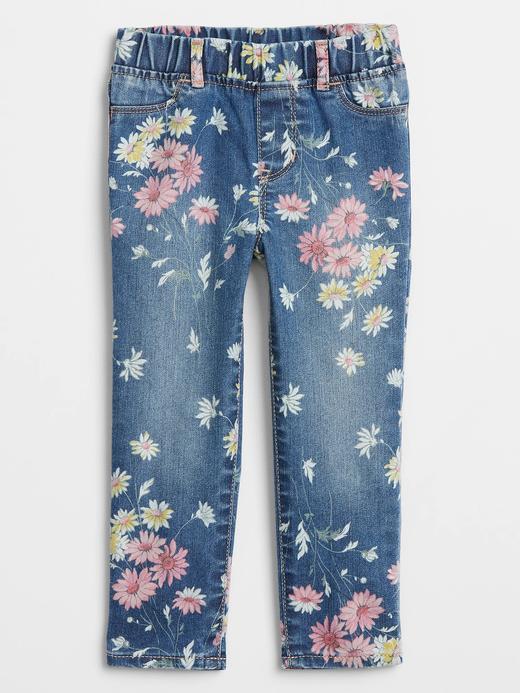 Kız Bebek Mavi Çiçek Desenli Jegging Pantolon