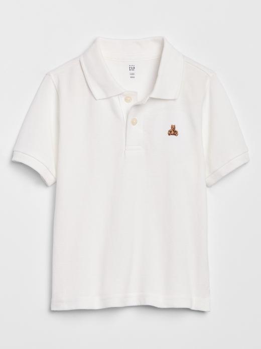Erkek Bebek Beyaz Polo Yaka Kısa Kollu T-Shirt