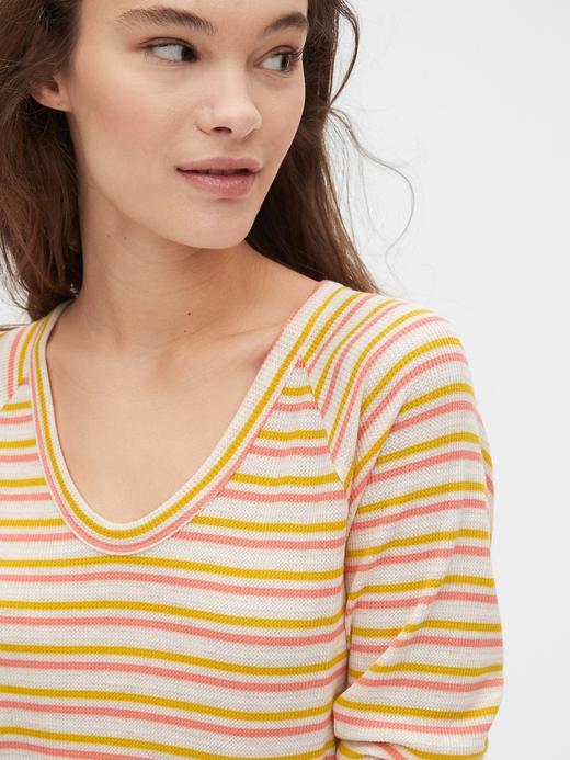 Kadın Sarı V Yaka Uzun Kollu T-Shirt