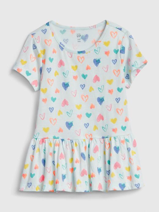 Kız Bebek Mavi Desenli Peplum Tunik