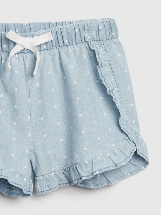 Kız Bebek Mavi Fırfırlı Pull-On Şort